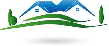 Dos casas y prados, tejados, logotipo de las propiedades inmobiliarias stock de ilustración
