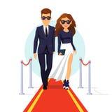 Dos celebridades ricas que caminan en una alfombra roja ilustración del vector