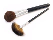 Dos cepillos del maquillaje Imagen de archivo libre de regalías