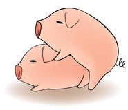 Dos cerdos de la historieta que tienen sexo Foto de archivo libre de regalías