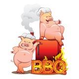 Dos cerdos divertidos cerca del fumador rojo Foto de archivo