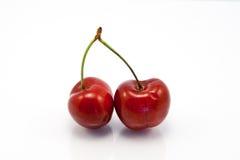 Dos cerezas rojas de rubíes jugosas Foto de archivo libre de regalías