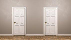 Dos cerraron las puertas blancas en frente en el cuarto stock de ilustración