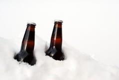 Dos cervezas en la nieve Imagen de archivo