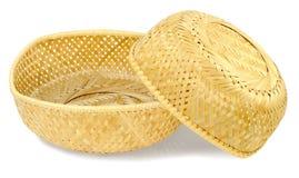 Dos cestas tejidas de la paja fotografía de archivo libre de regalías