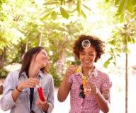 Dos chicas jóvenes de risa que soplan burbujas Imagen de archivo libre de regalías