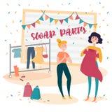 Dos chicas jóvenes en el partido del intercambio de la moda intercambio libre illustration