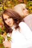 Dos chicas jóvenes en parque del otoño fotografía de archivo