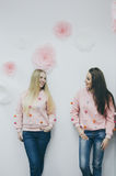 Dos chicas jóvenes hermosas Imágenes de archivo libres de regalías