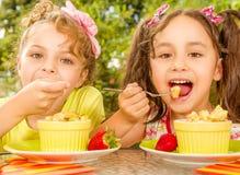 Dos chicas jóvenes hermosas, comiendo un pineaple sano y las uvas usando una bifurcación, en un fondo del jardín Fotos de archivo