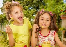 Dos chicas jóvenes hermosas, preparándose para comer una ensalada de fruta sana usando una bifurcación, en un fondo del jardín Imágenes de archivo libres de regalías