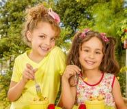 Dos chicas jóvenes hermosas, preparándose para comer una ensalada de fruta sana usando una bifurcación, en un fondo del jardín Fotos de archivo libres de regalías