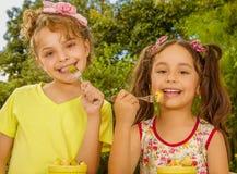 Dos chicas jóvenes hermosas, preparándose para comer una ensalada de fruta sana usando una bifurcación, en un fondo del jardín Imagen de archivo
