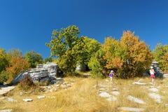 Dos chicas jóvenes que exploran el bosque de piedra, formación de roca natural, creada por las capas múltiples de piedra, situada foto de archivo libre de regalías