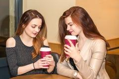 Dos chicas jóvenes que hablan en una cafetería Imagen de archivo
