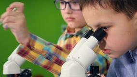 Dos científicos de los muchachos que miran en los microscopios Primer 4K almacen de video
