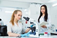 Dos científicos que conducen la investigación en un ambiente del laboratorio Imagen de archivo libre de regalías