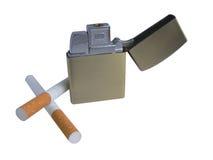 Dos cigarrillos y alumbradores imagen de archivo libre de regalías