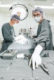 Dos cirujanos veterinarios en sala de operaciones Fotos de archivo libres de regalías