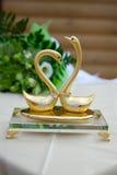 Dos cisnes con los ringss de la boda Imagen de archivo libre de regalías