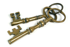Dos claves de cobre amarillo Fotografía de archivo libre de regalías
