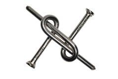 Dos clavos torcidos del metal Fotografía de archivo libre de regalías