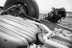 Dos coches dados vuelta al revés Imagen de archivo libre de regalías