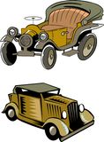 Dos coches retros de la historieta Imagenes de archivo