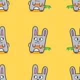 Dos coelhos engraçados dos desenhos animados do vetor teste padrão sem emenda Foto de Stock Royalty Free
