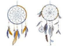 Dos colectores ideales adornados dibujados mano con las plumas en colores de moda suaves Astrología, espiritualidad, símbolo mági ilustración del vector