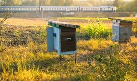 Dos colmenas rurales en parada del entorno natural y del tren Imagen de archivo libre de regalías