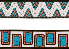 Dos colores tribales de las fronteras, del azul, anaranjados y grises stock de ilustración
