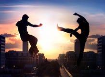 Dos combatientes del capoeira Foto de archivo libre de regalías