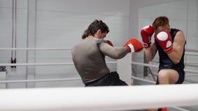 Dos combatientes son de entrenamiento y de encajonamiento en ringside en club de la lucha metrajes