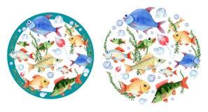Dos composiciones redondas de los fishs para los niños Stock de ilustración
