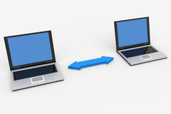 Dos computadoras portátiles conectadas Fotografía de archivo