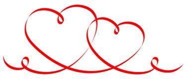 Dos conectaron corazones rojos de la caligrafía stock de ilustración