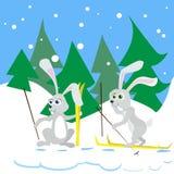 Dos conejo Ski Winter Snow Forest Vector libre illustration