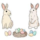 Dos conejos de pascua y huevos de Pascua Garabato colorido de la imagen de la historieta Bosquejo de Lineart stock de ilustración