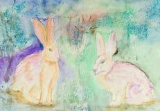 Dos conejos rosados en un fondo azulado de la turquesa ilustración del vector