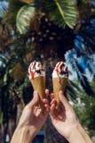 Dos conos de helado con el chocolate y el atasco Fotografía de archivo libre de regalías