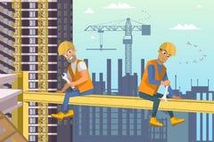 Dos constructores se sientan en haz sobre la construcción de la casa libre illustration