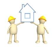 Dos constructores, sosteniendo en manos la casa estilizada libre illustration