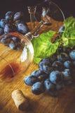 Dos copas con el vino rojo y las uvas Fotos de archivo libres de regalías
