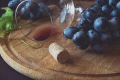 Dos copas con el vino rojo y las uvas Fotografía de archivo libre de regalías