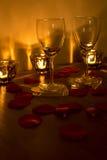 Dos copas de vino vacías Imagen de archivo libre de regalías