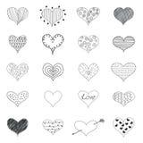 Dos corações românticos do amor do esboço os ícones retros das garatujas ajustaram Valentine Day Vetora Illustration ilustração stock