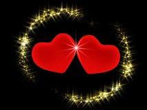 Dos corazones 3d en un ambiente de estrellas brillantes Imagen de archivo