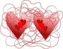 Dos corazones atados con alambre Imagen de archivo