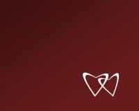 Dos corazones blancos en fondo rojo Imagen de archivo libre de regalías